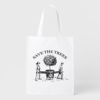 Save the Trees Vintage Illustration resuable Bag