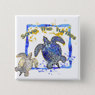 Save the turtles 15 cm square badge