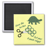Save the Turtles Cut Six Pack Rings Magnet