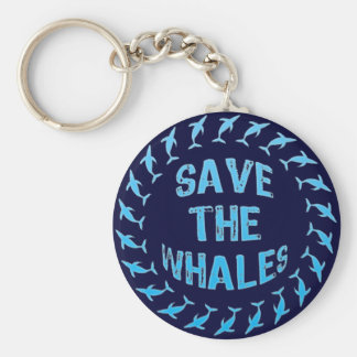 SAVE THE WHALES BASIC ROUND BUTTON KEY RING