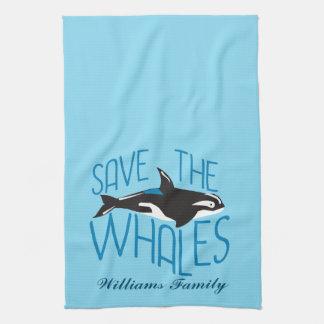 Save the Whales Custom Blue Tea Towel