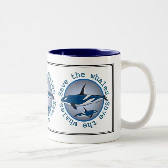 Save the Whales Two-Tone Coffee Mug