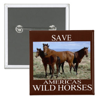 Save the Wild Horses 15 Cm Square Badge