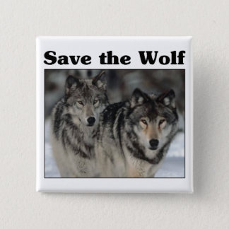 Save the Wolf 15 Cm Square Badge