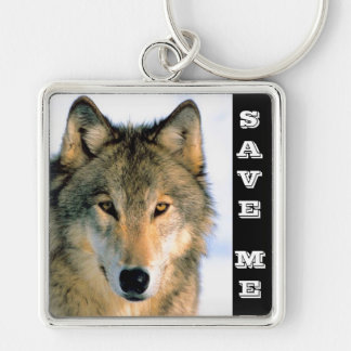 SAVE THE WOLF Silver-Colored SQUARE KEY RING
