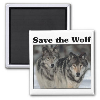 Save the Wolf Square Magnet