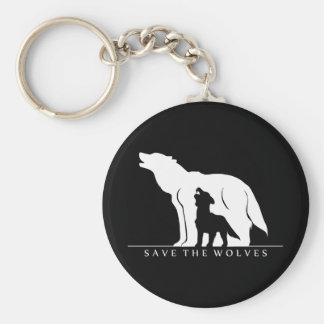Save the Wolves Basic Round Button Key Ring