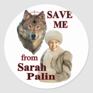 Save the Wolves from Sarah Palin Classic Round Sticker