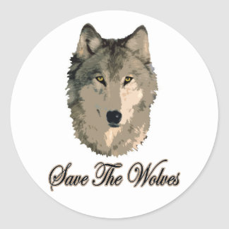 Save The Wolves Round Sticker