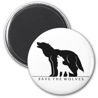 Save the Wolves (white ver.) 6 Cm Round Magnet