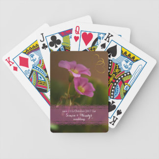 Save this date haze magenta Oxalis Purpurea flower Bicycle Playing Cards
