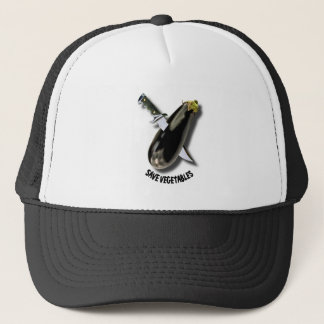 Save Vegetables Eggplant With Military Knife Funny Trucker Hat
