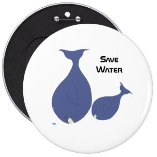 Save Water 6 Cm Round Badge