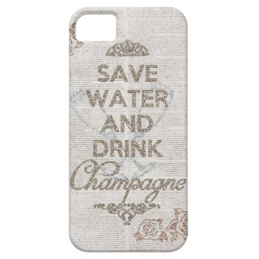 Save Water And Drink Champagne Shabby Glitter Case iPhone 5 Cases