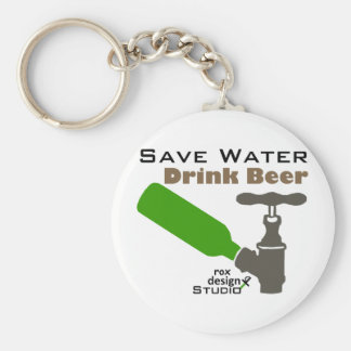 Save Water Drink Beer Basic Round Button Key Ring