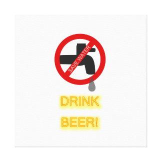 Save water, drink beer canvas print