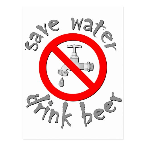 Save Water Drink Beer Funny Drinking Design Postcards