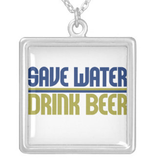 Save Water Drink Beer Square Pendant Necklace