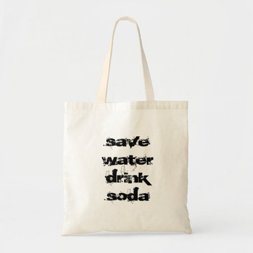 save water drink soda canvas bag