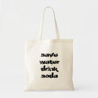 save water drink soda budget tote bag