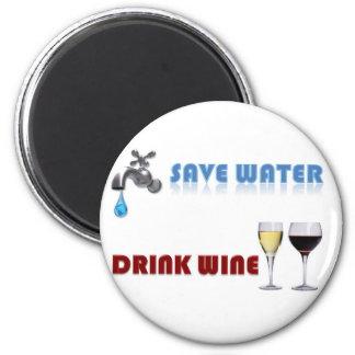 Save Water, Drink Wine 6 Cm Round Magnet