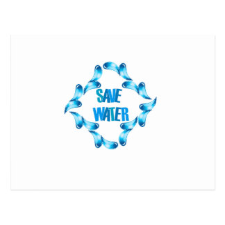 Save water graphic with water droplets postcard