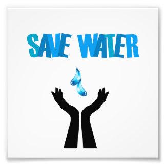 Save water- hands saving water photo print