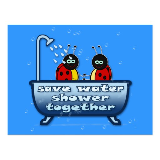 save water, shower together postcard