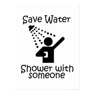 Save water shower with somene postcard