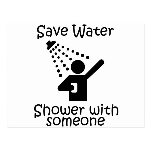 Save water shower with somene post cards