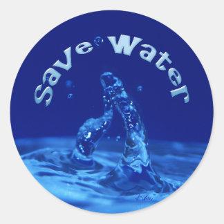 save water round sticker