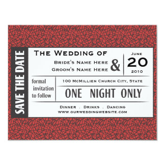 Save your Ticket! 11 Cm X 14 Cm Invitation Card