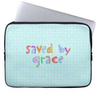 Saved By Grace Cute Christian Artsy Polkadots Computer Sleeves