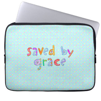 Saved By Grace Cute Christian Artsy Polkadots Laptop Sleeve