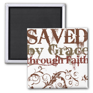 Saved by Grace Square Magnet