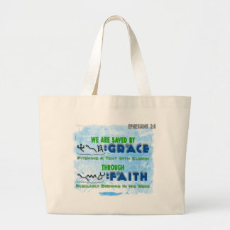 Saved By Grace Through Faith Large Tote Bag