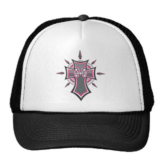 SAVED Christian Pink Cross Mesh Hats