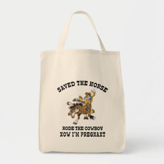 Saved The Horse Rode The Cowboy Pregnant Tote Bags