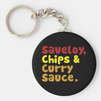 Saveloy, Chips & Curry Sauce. Basic Round Button Key Ring
