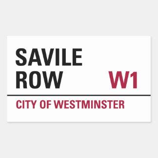 Savile Row Sign (pack of 4) Rectangular Sticker