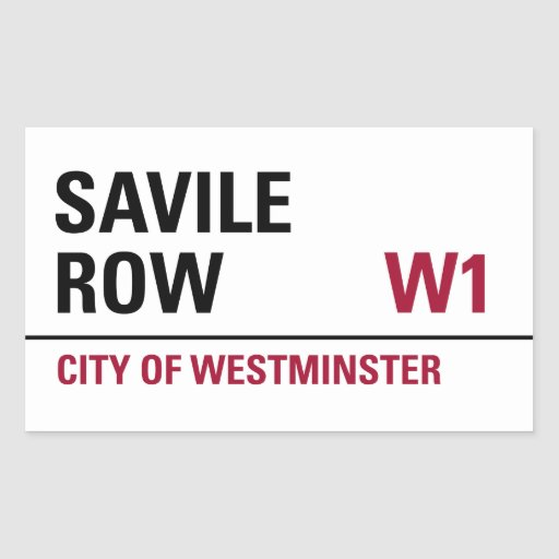 Savile Row Sign (pack of 4) Rectangle Stickers