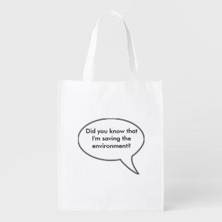 Saving the environment reusable grocery bag