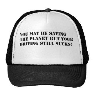 saving the planet black on white trucker hat