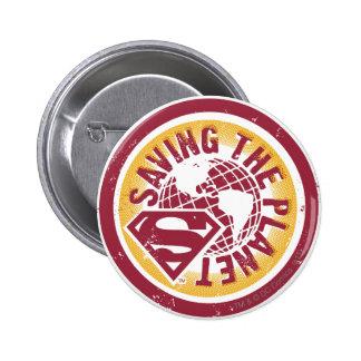 Saving the planet red circle 6 cm round badge
