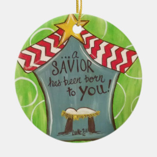 Savior in a Manger Christmas Ornament