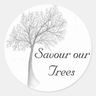 Savour our Trees Round Sticker