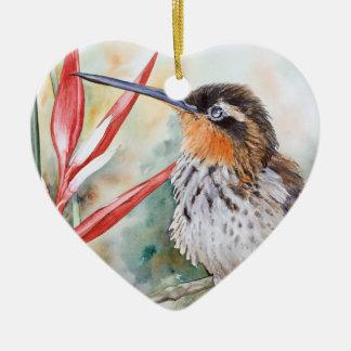 Saw-billed Hermit Hummingbird Ceramic Heart Decoration