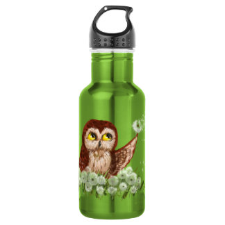 Saw-whet owl dandelion 532 ml water bottle