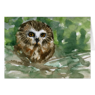"""""""Saw Whet Owl"""" Note Card"""