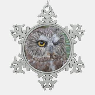 Saw-whet Owl Snowflake Pewter Christmas Ornament